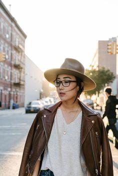 Acne Studios Jacket (Black), COS Sweater, Janessa Leone Hat, Cartier Necklace, Celine Glasses via @eggcanvas