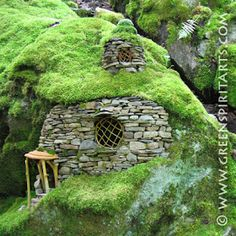 """Emerald Mossy House"" by Sally J. I want to live in a hobbit house. OMG i'd love to live in a hobbit house!"