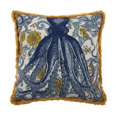 Thomaspaul's 100% flax pillows are handmade, reversible and feature two of Thomaspaul's favorite things: sea creatures and floral designs. All pillows have contrasting fringed edges and come with a fe