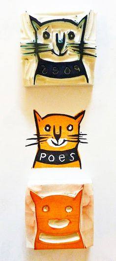 a Stamp a Day: pussycat Stamp Printing, Screen Printing, Linoleum Block Printing, Stamp Carving, Handmade Stamps, Kids Prints, Tampons, Cat Art, Printmaking
