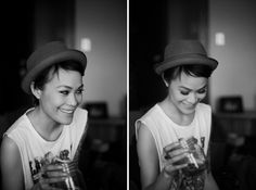 Hats look so great on short haired ladies. photo by: Brown Paper Bag Photography