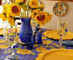 Plum Creek Place - Blue and Yellow Tablescape