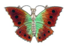 A SILVER AND TRANSLUCENT ENAMEL BUTTERFLY BROOCH, 3CM W, MARKED SILVER  Sold @ Mellors & Kirk