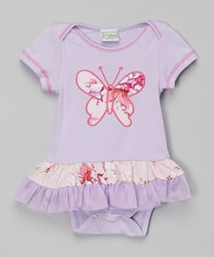 Look what I found on #zulily! Lavender & Pink Butterfly Skirted Bodysuit - Infant #zulilyfinds