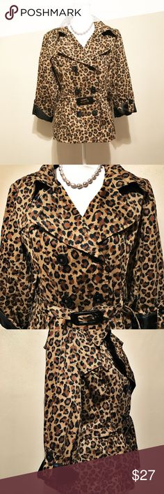 Talie leopard  print lightweight trench coat. A beautiful , fully-lined , leopard print , short length trench coat with adjustable belt for a flattering fit. Pre- owned & inspected for quality. Any wear or use is shown in picture ( belt buckle scuffed). Size XL. Talie Jackets & Coats Trench Coats