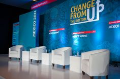 """Mexico Summit"" Stage/set design by Rachana Sheth, via Behance Corporate Event Design, Event Branding, Exhibition Stand Design, Backdrop Design, Decoration Design, Summit Stage, Summit Conference, Bühnen Design, Trade Show Design"