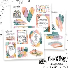 Pep Talks | Bible Journaling Printable Ephemera by Illustrated Faith Words Of Affirmation, Paint Swatches, Faith Bible, Illustrated Faith, Pep Talks, My Journal, Pattern Paper, Affirmations, Encouragement