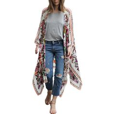 Blouse Women 2017 Street Style Floral Print Batwing Sleeve Chiffon Loose Shawl Top Cover up Kimono White Long Shirt femininas