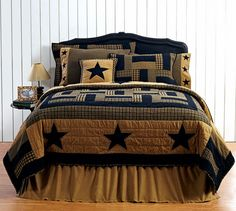 The Delaware line is a blend of patchwork and stars in the popular colors of black and tan. 100 cotton fabric, queen size, wide and long. Complete the look with the rest of our Delaware Star bedding! Primitive Homes, Primitive Bathrooms, Country Primitive, Primitive Decor, Prim Decor, Country Farmhouse, French Country, Star Bedding, Cute Bedding