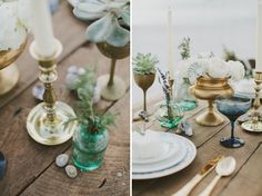 Vintage Bottles and Brass Collection featured on Green Wedding Shoes- Dreamy Beach Proposal: Colleen + Justin I Decor by Wish Vintage Rentals I Photography by Studio 222 Photography I Styling & Coordination by Tickled Pink Brides I Vintage China & Glassware by Dishie Rentals I Florals by Lee Forrest Design