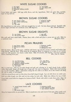 Vintage Cookies Recipes From 1940 (old fashioned sugar cookie recipes) Retro Recipes, Old Recipes, Vintage Recipes, Cookbook Recipes, Sweet Recipes, Baking Recipes, Family Recipes, Homemade Cookbook, Decorated Cookies