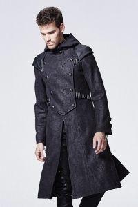Gothic Mantel mit Kapuze und Epauletten in Lederoptik