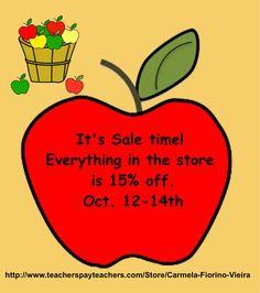 I'm having a Sale!  Everything is 15% off from Oct 12-14th.   http://www.teacherspayteachers.com/Store/Carmela-Fiorino-Vieira
