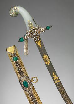 The most important ceremony in the inauguration of many Islamic rulers was the investiture with a sword, rather than a crown. (This saber with scabbard is century, Turkish from The Metropolitan Museum of Art, New York. Swords And Daggers, Arm Armor, Ottoman Empire, Metropolitan Museum, Islamic Art, Blade, Weapons, Jewels, 19th Century