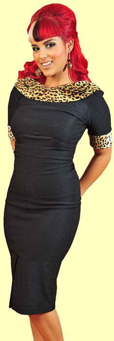 Audrey dress - black pencil dress with animal trim
