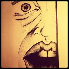 #art #drawing #picture #sketch #nib #mouth #eye #illustration #bw