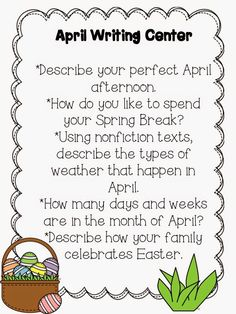 The Teacher's Treasure Chest: April Writing Center Freebie