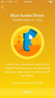 Blue Suede Shoes- Fitbit Badge for daily steps. A fun interactive way to encourage more walking with the fitbit pedometer. Fitbit Badges, Do The Hustle, Fitbit Bracelet, Fitbit One, Off The Charts, Walking Exercise, Blue Suede Shoes, Liking Someone, Fit Bit