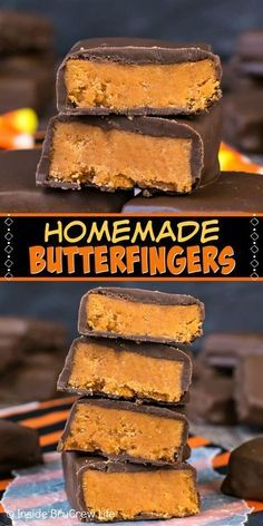 Homemade Butterfingers - Make Your Own Candy Bars With Just Three Ingredients. These Easy Treats Are A Great Way To Use Up Extra Bags Of Candy Corn Perfect Recipe To Try For Halloween Parties Easy Candy Recipes, Fudge Recipes, Sweet Recipes, Candy Corn Fudge Recipe, Candy Corn Cookies, Homemade Sweets, Homemade Candies, Homeade Candy, Homemade Ice