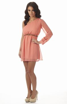 Cut Out Shoulder One Sleeve Dress