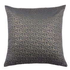 FUSAIN - Coussin en tissu velours gris et doré 45x45