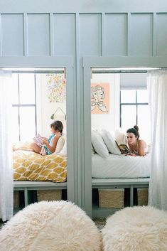 Built-In Beds: Sharing a bedroom isn't a problem for these sisters, thanks to their cozy bed nooks that have curtains for added privacy. Photo by Jana Carson via Style Me Pretty