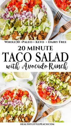Recipes Paleo A quick and easy Taco Salad that is filled with savory ground beef, fresh veggies and drizzled with avocado ranch. The whole family will love this Paleo and Keto salad. Paleo Taco Salad, Paleo Tacos, Taco Salad Recipes, Healthy Tacos, Paleo Recipes, Paleo Food, Paleo Diet, Paleo Enchiladas, Low Carb Taco Salad