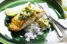 Grilled fish with lime, fresh coconut & avocado relish - repin for the relish