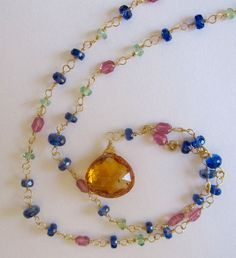 """18K Solid Gold~ AAA Thai Sapphire """"Trellis""""  Necklace~ 18"""" & 20"""" long"""
