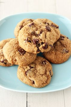 Skinny Chocolate Chip Cookies - soft yet chewy and made with whole wheat flour and no butter!