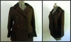 Vintage Brown Wool Double Pea Coat/Jacket Persian by rileybella123, $60.00
