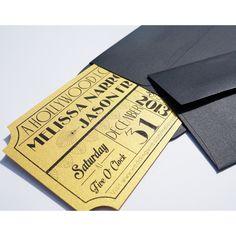Old Hollywood, Art Deco, Gold Movie Ticket Wedding Invitation DIGITAL... ($48) ❤ liked on Polyvore featuring home, home decor, movie home decor, gold home accessories, gold wedding invitations and gold home decor