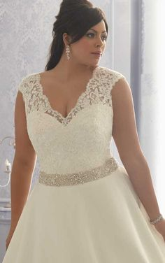 d2ee50b2654a V Neck Ivory Cap Sleeve Beadings A Line Wedding Dress Lace Plus Size  Wedding Dresses