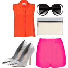 A fashion look from April 2013 featuring red shirt, high-rise shorts and polish shoes. Browse and shop related looks. Victoria Beckham, Streetwear Brands, Moschino, Color Blocking, Off White, Luxury Fashion, Topshop, Polyvore, Shopping