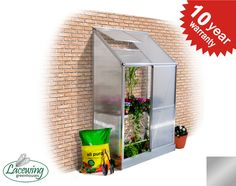 Lacewing™ 2ft x 4ft Deluxe Lean-To Silver Aluminium Frame Greenhouse