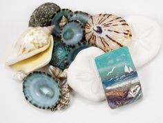 Handmade Polymer Clay Focal 18 x 30 mm Pendant Bead-Seascape-Set Sail-Beach Coastal Nautical themed-Turquoise Aqua Blue-PA 8682 by StudioStJames on Etsy