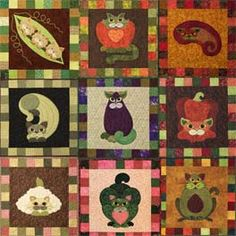 Adorable cat patterns for  a mini wall hanging or quilt. Garden Patch Cats