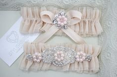 Bridal Peach Garter Tulle Set, Peach Bridal Garter, Tulle Peach Garter, Tulle Pink Bridal Garter Set, Pink Wedding Garter Set by StylishBrideAccs on Etsy