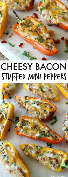 time I make these Cheesy Bacon Stuffed Mini Peppers they disappear in minutes! Everyone loves them!Every time I make these Cheesy Bacon Stuffed Mini Peppers they disappear in minutes! Everyone loves them! Best Appetizer Recipes, Finger Food Appetizers, Yummy Appetizers, Keto Recipes, Cooking Recipes, Cake Recipes, Brunch Finger Foods, Keto Finger Foods, Holiday Appetizers