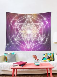 """Metatron's Cube"" Tapestry by KanoelaniArt Galaxy Background, Thing 1, Galaxy Art, Textile Prints, Love Is All, All Print, Wall Tapestry, Vivid Colors, Cube"