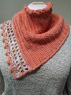 This no fuss bandana type cowl is a decorative piece that you can simply pop over your head to zhoosh up an outfit. Pattern features a sport weight organic cotton from One of a Kind Yarns, though any sport/baby/fine yarn can be used. Crochet Accessories, Hair Accessories, Kerchief, Capelet, Sports Baby, Live Coral, Ladder Stitch, Crochet Shawl, Crochet Clothes