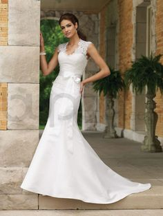 Mermaid Duliciana Satin Open Back Bodice Lace Queen Anne Neckline Chapel Length Train Wedding Dresses (MB110220)