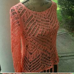 Customade crochet top Good stretch. New of course Size small to a meduim  Color: peach Tops