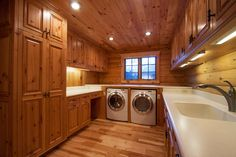 western red cedar ranch style log home traditional laundry room