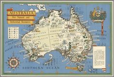 happy australia day a bright map from of australias resources from 1942 map australia