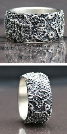 this ring is made by wax casting an actual piece of vintage lace, then finished by hand. It is made entirely of sterling silver.