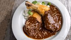 I just discovered this amazing recipe Lacquered Chicken in Red Mole by Chef Rick Bayless!
