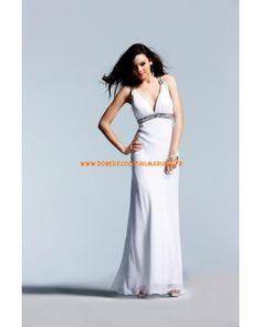 Robe blanche noire fuchsia col en V bretelles robe de soirée 2013 satin stretch