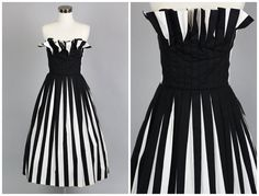 Dress / Parisian Chic Black & White Stripe by TheVintageNet Black White Stripes, Black And White, Vintage Party Dresses, Red Carpet Gowns, Pleated Bodice, Full Skirts, Parisian Chic, Classy Outfits, Vintage Looks