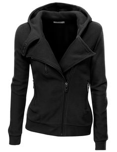 Doublju Womens Zip-up Hood Jacket in Fine Stretch Cotton at Amazon Women's Clothing store: Fashion Hoodies